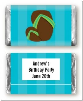 Flip Flops Boy Pool Party - Personalized Birthday Party Mini Candy Bar Wrappers