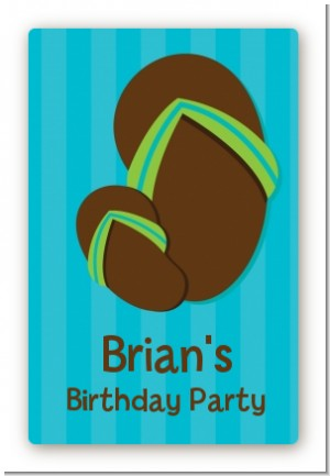 Flip Flops Boy Pool Party - Custom Large Rectangle Birthday Party Sticker/Labels