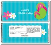 Flip Flops Girl Pool Party - Personalized Birthday Party Candy Bar Wrappers