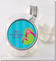 Flip Flops Girl Pool Party - Personalized Birthday Party Candy Jar