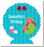Flip Flops Girl Pool Party - Personalized Birthday Party Centerpiece Stand