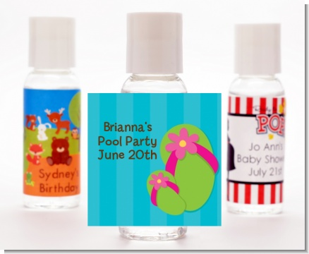 Flip Flops Girl Pool Party - Personalized Birthday Party Hand Sanitizers Favors