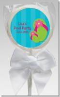 Flip Flops Girl Pool Party - Personalized Birthday Party Lollipop Favors