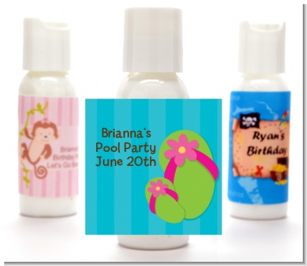 Flip Flops Girl Pool Party - Personalized Birthday Party Lotion Favors