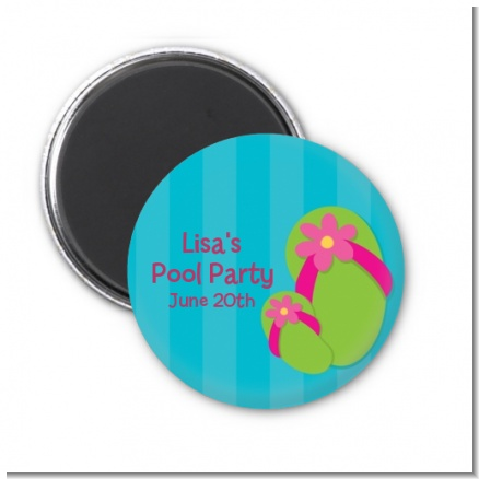 Flip Flops Girl Pool Party - Personalized Birthday Party Magnet Favors