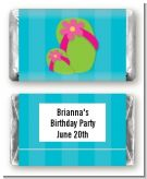 Flip Flops Girl Pool Party - Personalized Birthday Party Mini Candy Bar Wrappers