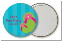 Flip Flops Girl Pool Party - Personalized Birthday Party Pocket Mirror Favors