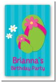 Flip Flops Girl Pool Party - Custom Large Rectangle Birthday Party Sticker/Labels