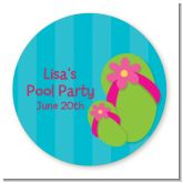 Flip Flops Girl Pool Party - Round Personalized Birthday Party Sticker Labels