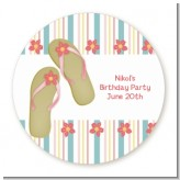 Flip Flops - Round Personalized Birthday Party Sticker Labels
