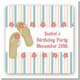 Flip Flops - Square Personalized Birthday Party Sticker Labels