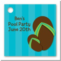 Flip Flops Boy Pool Party - Personalized Birthday Party Card Stock Favor Tags