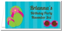 Flip Flops Girl Pool Party - Personalized Birthday Party Place Cards