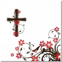 Cross Floral Blosson Baptism Theme