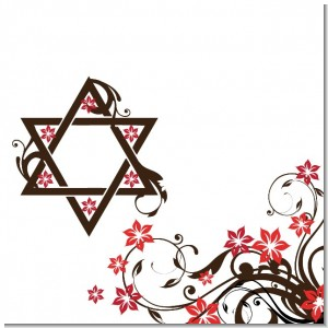 Jewish Star Of David Floral Blossom Theme