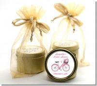 Floral Bicycle - Bridal Shower Gold Tin Candle Favors