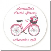 Floral Bicycle - Round Personalized Bridal Shower Sticker Labels