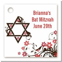 Jewish Star Of David Floral Blossom - Personalized Bar / Bat Mitzvah Card Stock Favor Tags