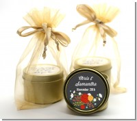 Floral Motif - Bridal Shower Gold Tin Candle Favors