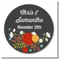 Floral Motif - Round Personalized Bridal Shower Sticker Labels thumbnail