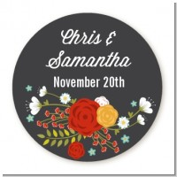 Floral Motif - Round Personalized Bridal Shower Sticker Labels
