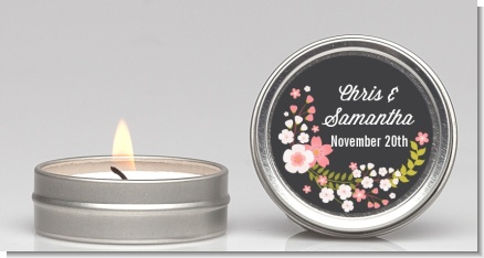 Floral Motif Pink - Bridal Shower Candle Favors