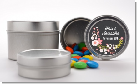 Floral Motif Pink - Custom Bridal Shower Favor Tins