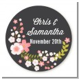 Floral Motif Pink - Round Personalized Bridal Shower Sticker Labels thumbnail