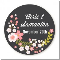 Floral Motif Pink - Round Personalized Bridal Shower Sticker Labels