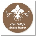 Fluer De Lis - Round Personalized Bridal Shower Sticker Labels thumbnail