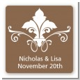 Fluer De Lis - Square Personalized Bridal Shower Sticker Labels thumbnail