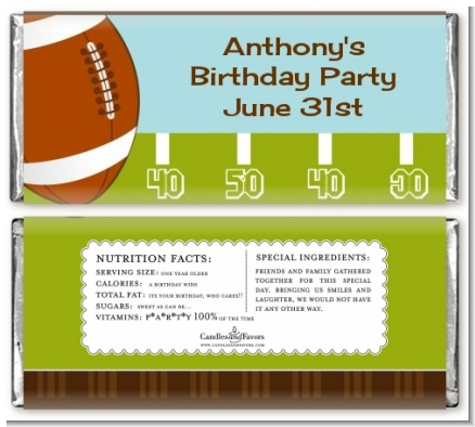 Football - Personalized Birthday Party Candy Bar Wrappers