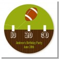 Football - Round Personalized Birthday Party Sticker Labels thumbnail