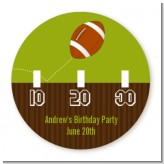 Football - Round Personalized Birthday Party Sticker Labels