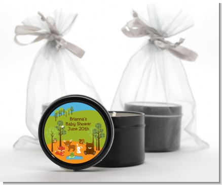 Forest Animals - Baby Shower Black Candle Tin Favors