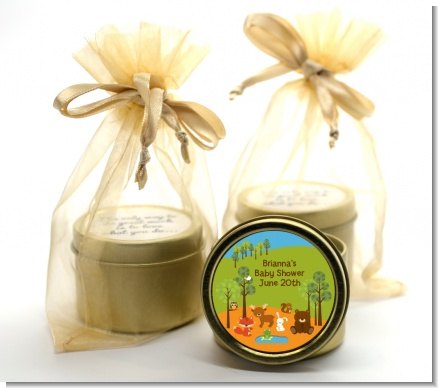 Forest Animals - Baby Shower Gold Tin Candle Favors