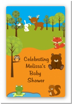 Forest Animals - Custom Large Rectangle Baby Shower Sticker/Labels