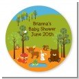 Forest Animals - Round Personalized Baby Shower Sticker Labels thumbnail