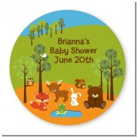 Forest Animals - Round Personalized Baby Shower Sticker Labels