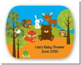 Forest Animals - Personalized Baby Shower Rounded Corner Stickers