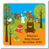 Forest Animals - Square Personalized Baby Shower Sticker Labels