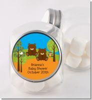 Forest Animals Twin Bears - Personalized Baby Shower Candy Jar