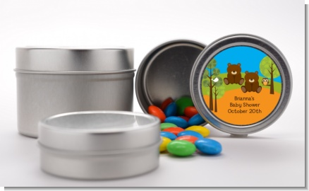 Forest Animals Twin Bears - Custom Baby Shower Favor Tins