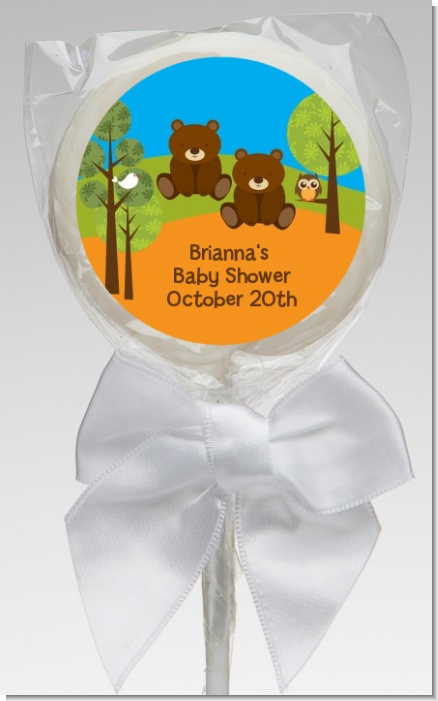 Forest Animals Twin Bears - Personalized Baby Shower Lollipop Favors