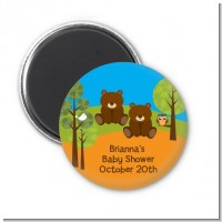 Forest Animals Twin Bears - Personalized Baby Shower Magnet Favors