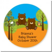 Forest Animals Twin Bears - Round Personalized Baby Shower Sticker Labels