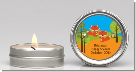 Forest Animals Twin Foxes - Baby Shower Candle Favors