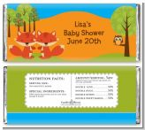 Forest Animals Twin Foxes - Personalized Baby Shower Candy Bar Wrappers