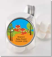Forest Animals Twin Foxes - Personalized Baby Shower Candy Jar