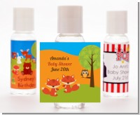 Forest Animals Twin Foxes - Personalized Baby Shower Hand Sanitizers Favors